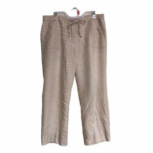 Charter club linen pants straight wide tan cream